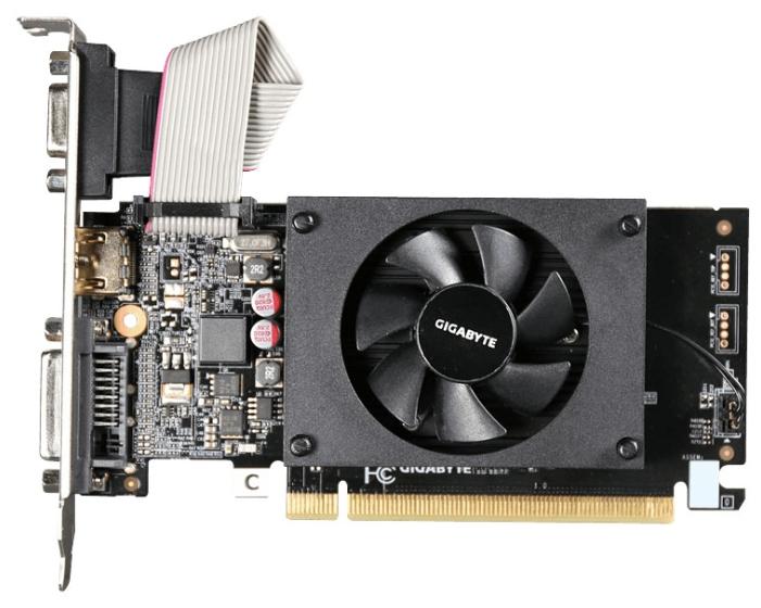 Видеокарта GeForce GigaByte GeForce GT 710 954Mhz PCI-E 2.0 2048Mb 1800Mhz 64 bit DVI HDMI HDCP (GV-N710D3-2GL)
