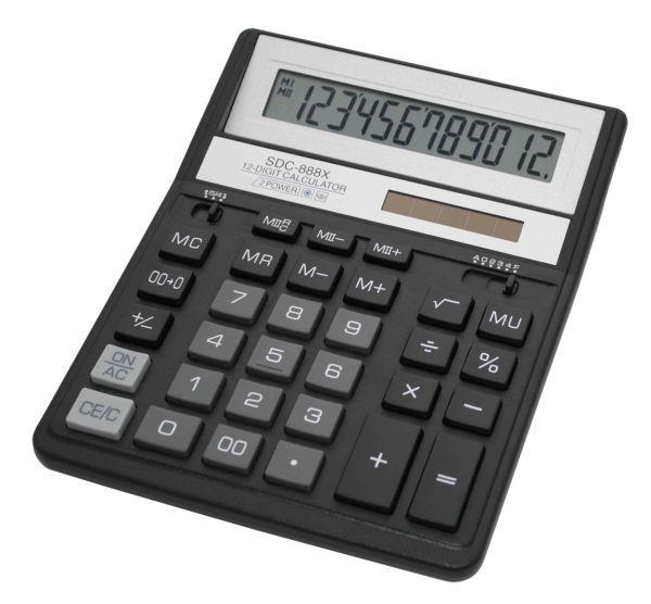 Калькулятор Citizen SDC-888XBK, 12-разрядный (чёрный)