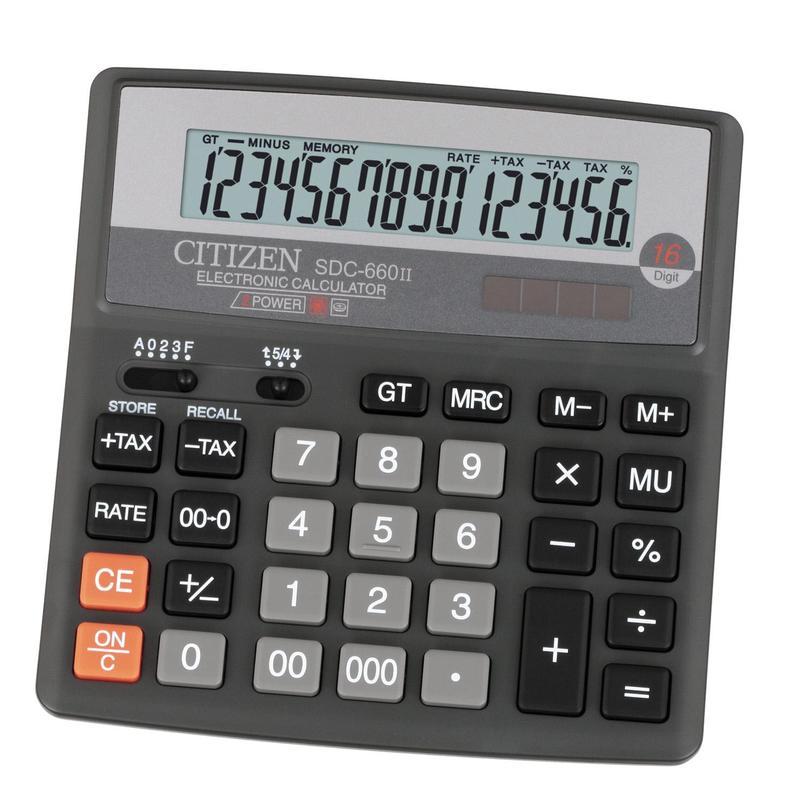 Калькулятор Citizen SDC-660II, 16-разрядный (чёрный)