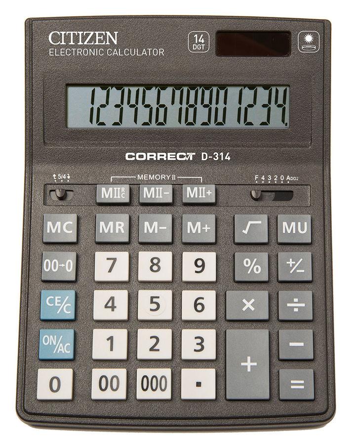 Калькулятор Citizen Correct D-314 14-разрядный чёрный
