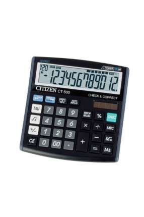 Калькулятор Citizen CT-500J, 12-разрядный (чёрный) CT500J