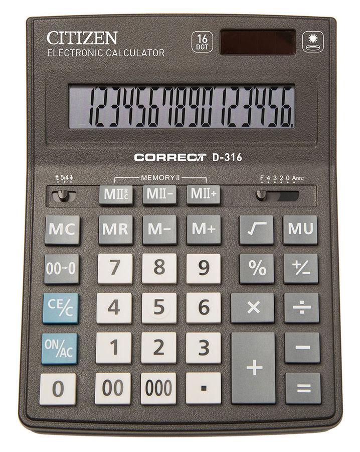 Калькулятор Citizen Correct D-316 16-разрядный Чёрный