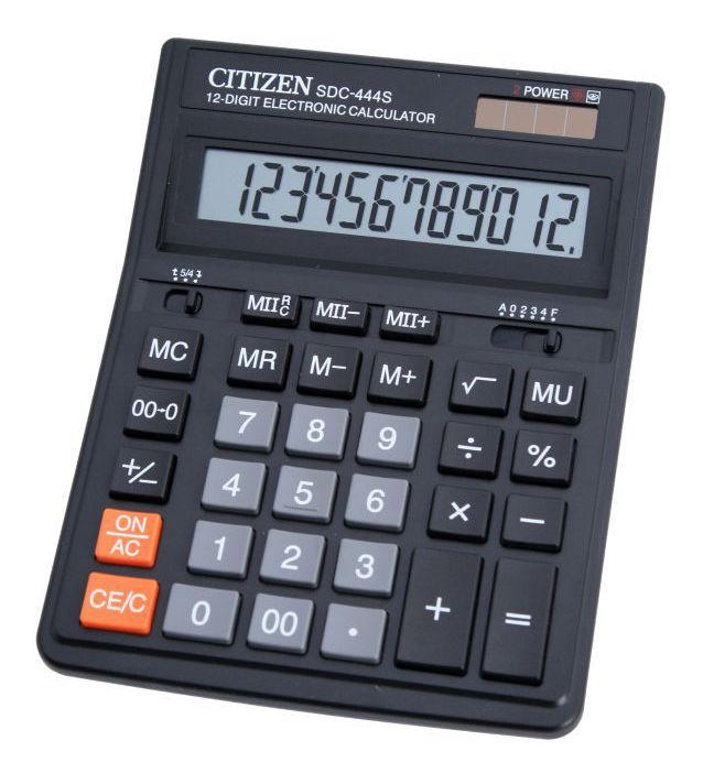 Калькулятор Citizen SDC-444S 12-разрядный Чёрный
