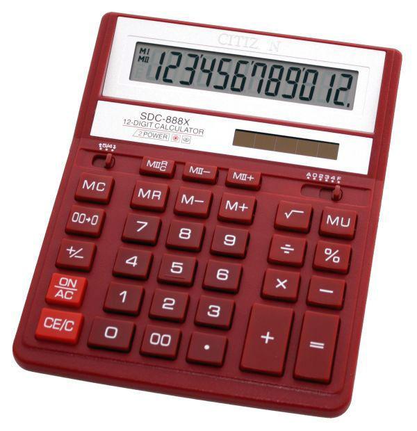 Калькулятор Citizen SDC-888XRD 12-разрядный Красный