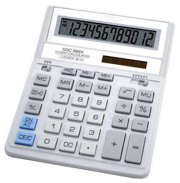 Калькулятор Citizen SDC-888XWH 12-разрядный Белый