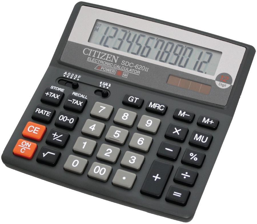 Калькулятор Citizen SDC-620 II 12-разрядный чёрный SDC-620II