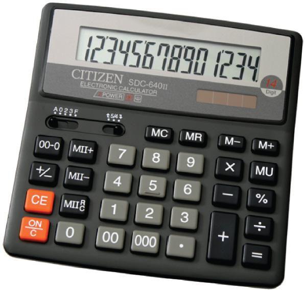 Калькулятор Citizen SDC-640 II 14-разрядный чёрный SDC-640II