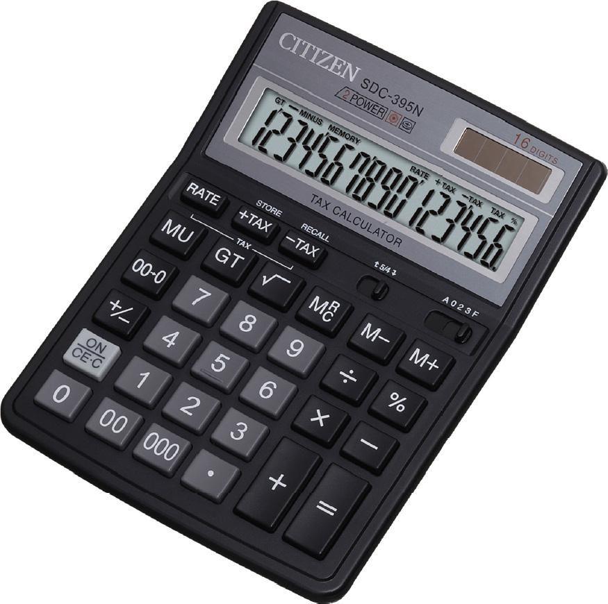 Калькулятор Citizen SDC-395 N 16-разрядный чёрный SDC-395N