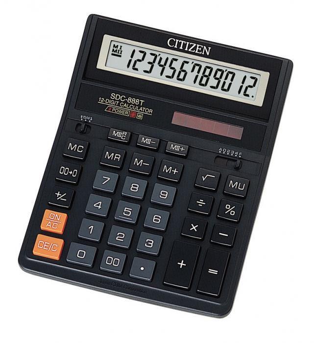 Калькулятор Citizen SDC 888TII 12-разрядный чёрный SDC-888TII