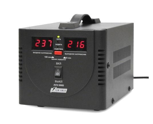 Стабилизатор напряжения PowerMan AVS 500D (релейный, 220 В, 500 ВА), чёрный