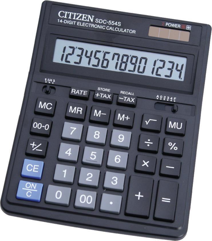 Калькулятор Citizen SDC-554S 14-разрядный Чёрный