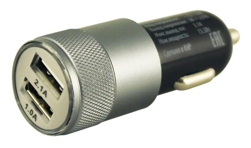 Зарядное устройство автомобильное, Buro 2.1A+1A универсальное (TJ-189), черный
