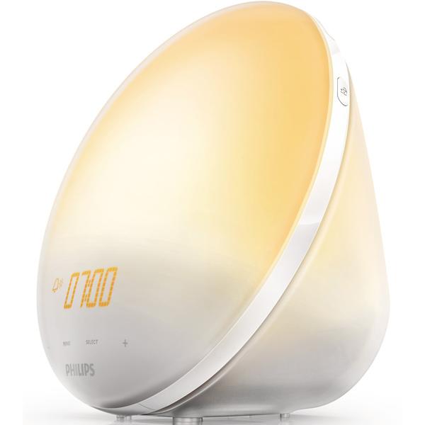 Часы интерьерные Philips Wake-Up Light HF3520/70, радиобудильник, со звуками природы и световой имитацией рассвета и заката