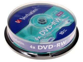 Оптический диск Verbatim DVD-RW 4.7 Gb, 4x, Cake Box (10шт) 43552