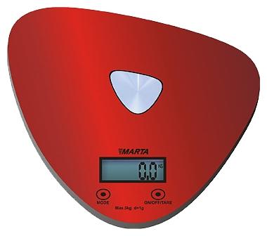 Кухонные весы Marta MT-1632, красные/блестящие MT-1632 красный/блестящий