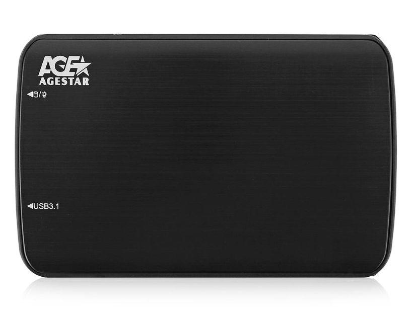 Корпус для жесткого диска Agestar 31UB2A12C (2.5'', SATA - microUSB3.1c), чёрный