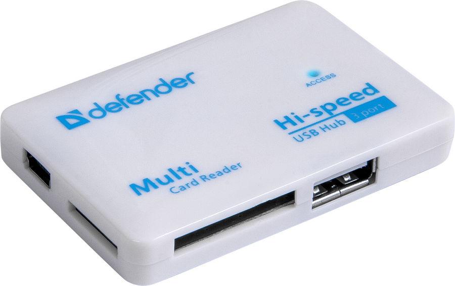 Устройство для чтения карт памяти Defender COMBO TINY (встроенный USB-хаб на 3 порта) 83502