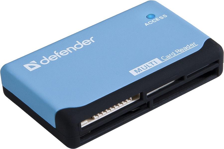 Устройство для чтения карт памяти Defender Ultra USB 2.0, 5 слотов, чёрно-голубой 83500