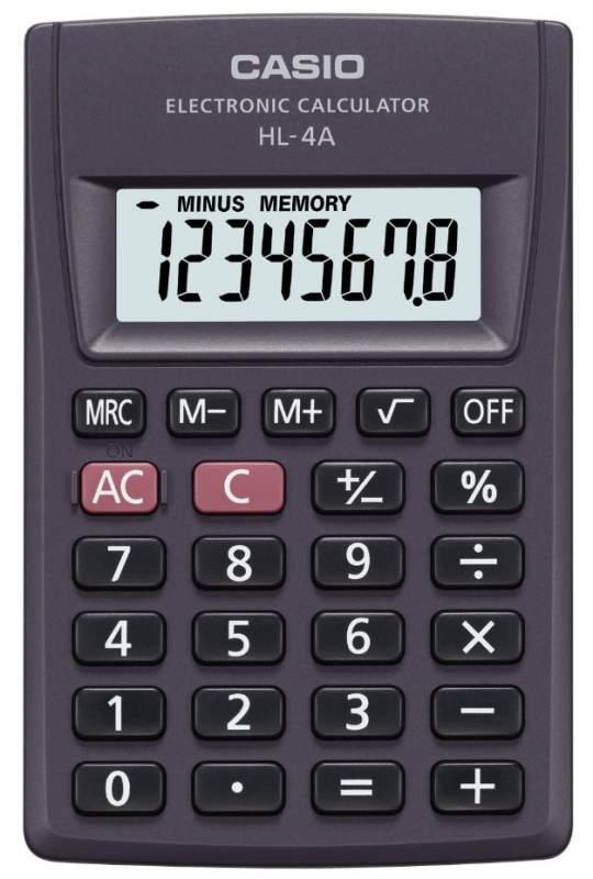 Калькулятор Casio HL-4A 8-разрядный, Черный