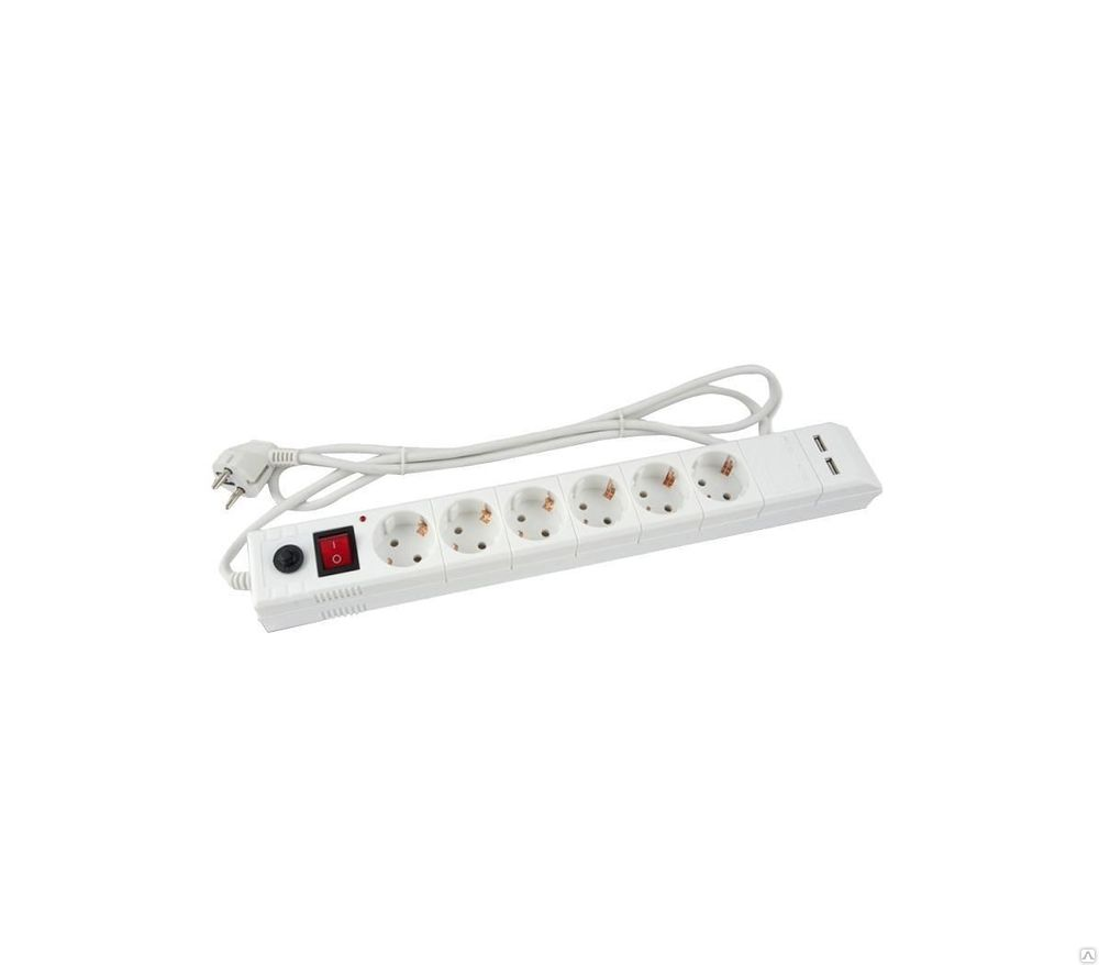 Сетевой фильтр BURO BU - SP5_USB_2A - W, белый BU-SP5_USB_2A-W