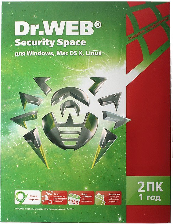 Программа-антивирус Dr-Web Security Space 2 ПК/1 год BHW-B-12M-2-A3