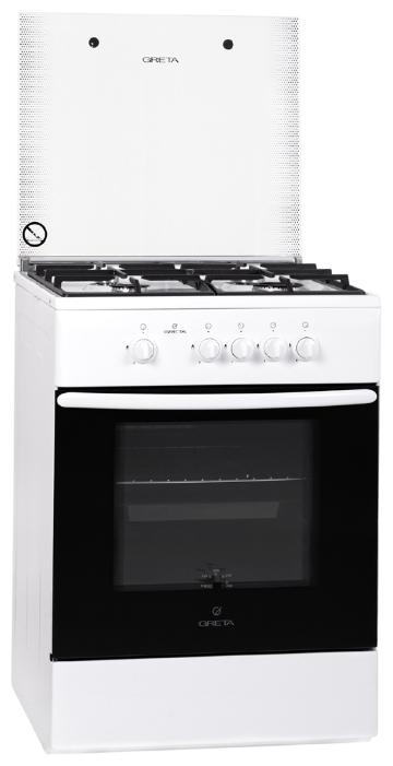 Плита GRETA 600-00-16A W, белая 600 исп №16 белая (ст.крышка,турбогорелка)