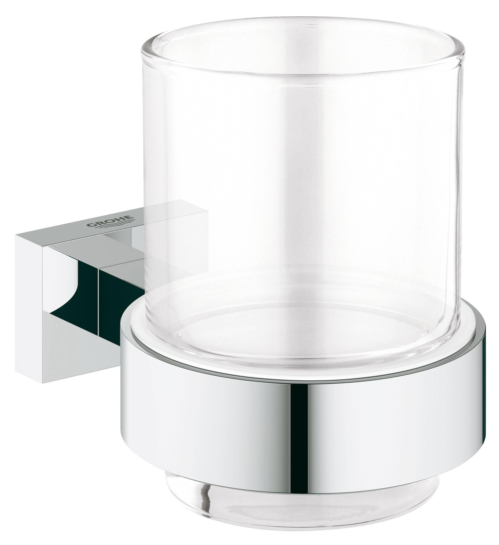 Стакан для зубных щеток Grohe 40755001 Essentials Cube, хром (40755001)