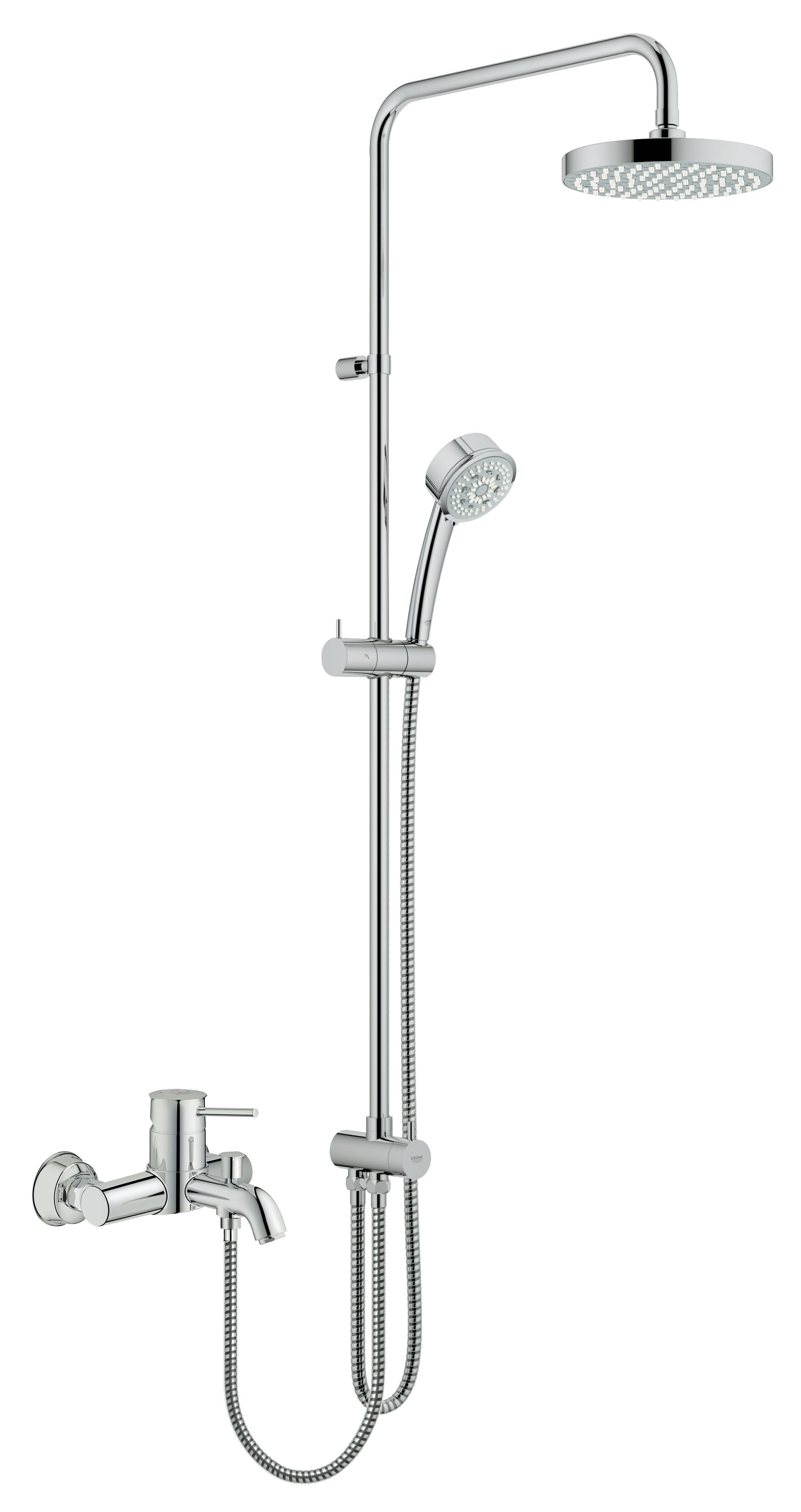 Душевая система Grohe 27399000 Tempesta Rustic 200 с верхним и ручным душем (без смесителя), хром (27399000)