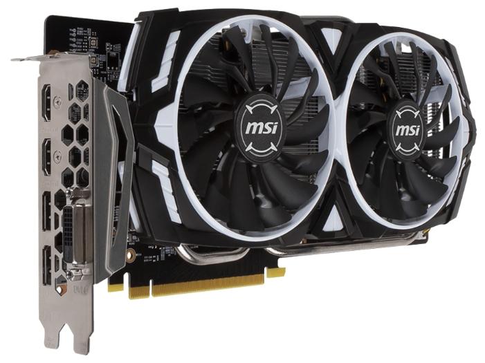 Видеокарта GeForce MSI GTX 1060 1544Mhz PCI-E 3.0 6144Mb 8008Mhz 192 bit DVI 2xHDMI HDCP GTX 1060 ARMOR 6G OCV1