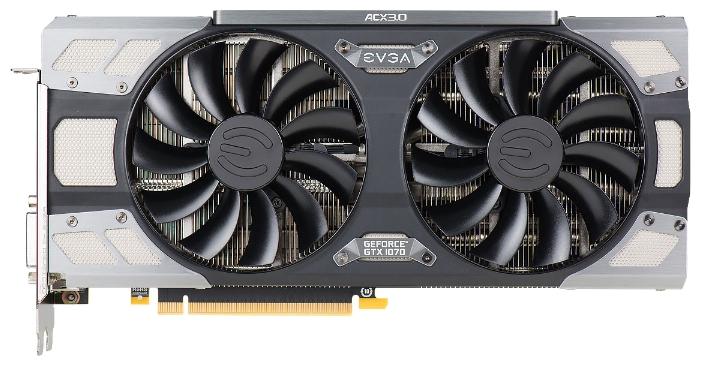 ���������� GeForce EVGA PCI-E NV GTX1070 FTW GAMING ACX 3.0 8192Mb 256b DDR5 D-DVI+HDMI 08G-P4-6276-KR