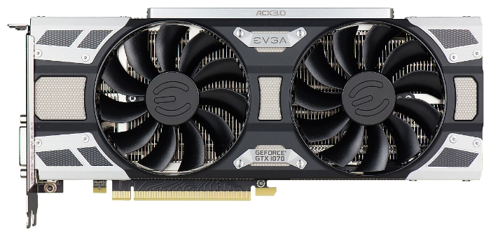 Видеокарта GeForce EVGA GeForce GTX 1070 1594Mhz PCI-E 3.0 8192Mb 8008Mhz 256 bit DVI HDMI HDCP, SC GAMING ACX 3.0 08G-P4-6173-KR