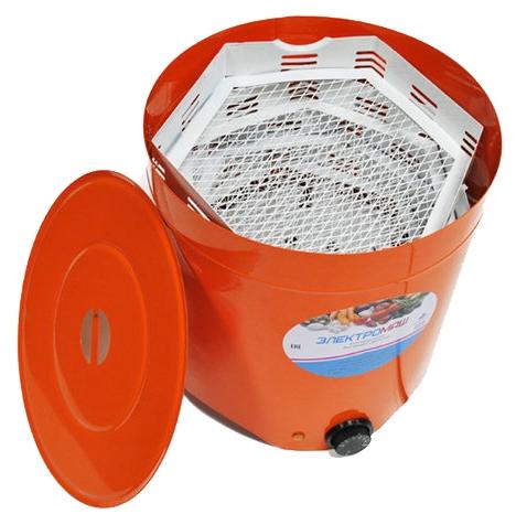 Сушилка для овощей и фруктов Elektromash 4 поддона, оранжевая