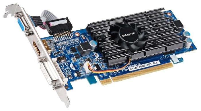 Видеокарта GeForce GigaByte GeForce 210 590Mhz PCI-E 2.0 1024Mb 1200Mhz 64 bit DVI HDMI HDCP GV-N210D3-1GI