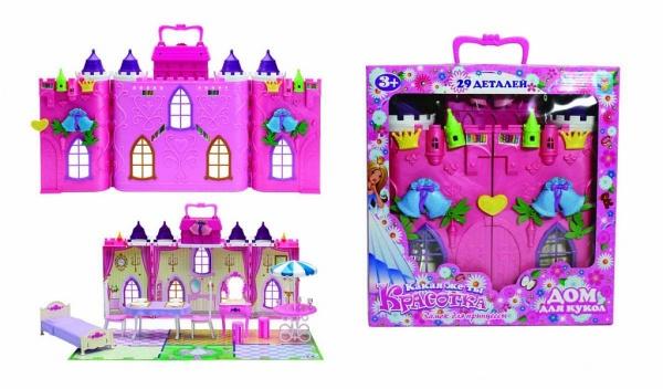 Игровое устройство Дом для кукол с мебелью 1toy Красотка 29 деталей