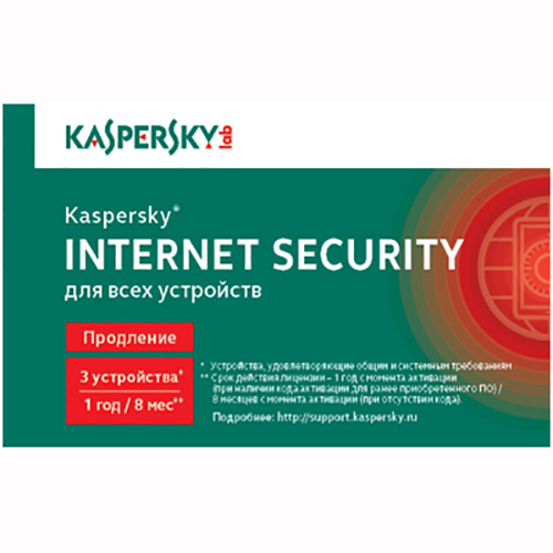 Антивирус Kaspersky Internet Security Multi-Device Russian Ed. 3-Device, продление лицензии на 1 год KL1941ROCFR