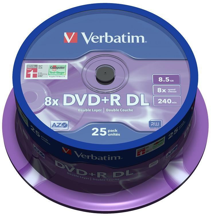 Оптический диск Verbatim DVD+R 8.5GB Dual Layer (25шт./кейкбокс) 43757