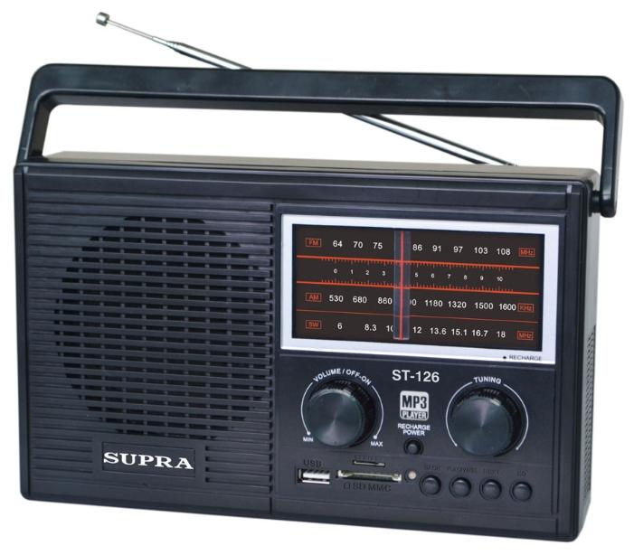 Радиоприемник SUPRA ST-126, черный ST-126 black