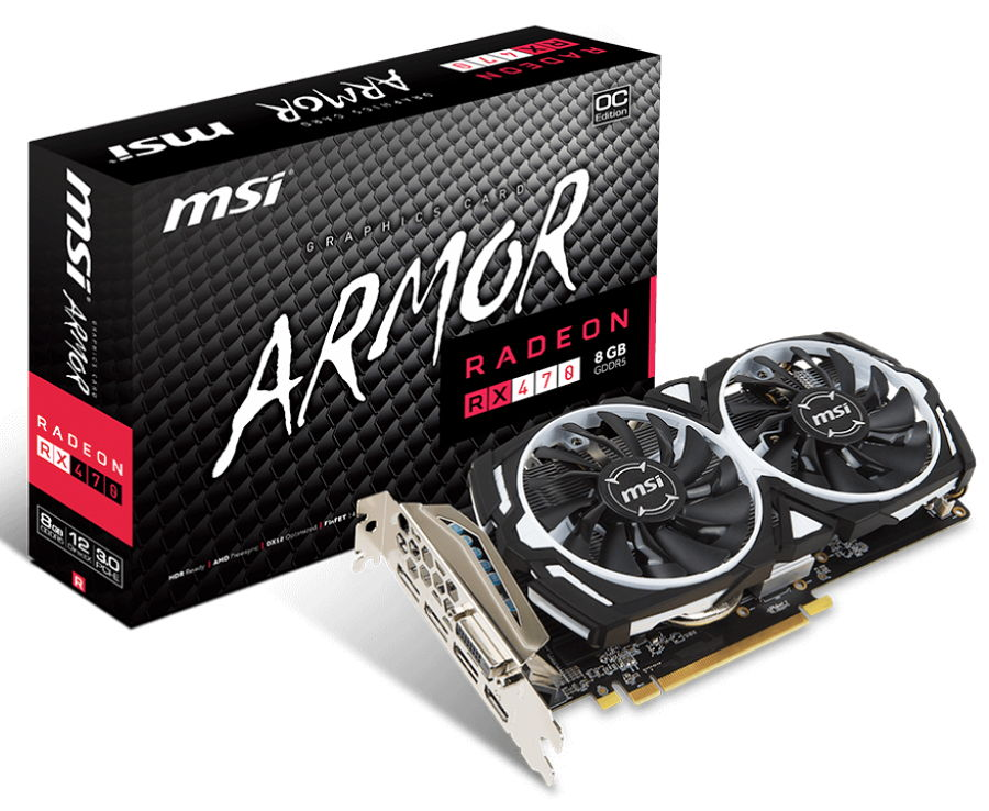 Видеокарта Radeon MSI Radeon RX 470 1230Mhz PCI-E 3.0 8192Mb 6600Mhz 256 bit DVI 2xHDMI HDCP, ARMOR 8G OC RX 470 ARMOR 8G OC