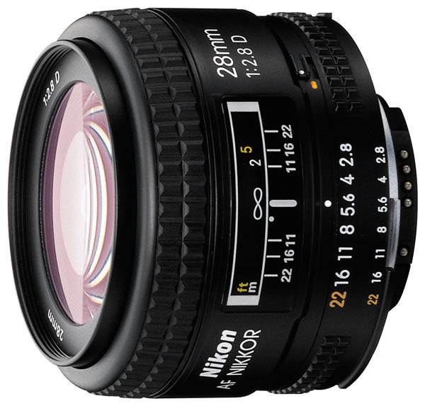 Объектив для фото Nikon 28mm f/2.8 AF Nikkor, черный JAA128DA