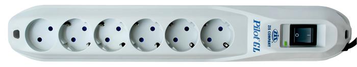 Сетевой фильтр PILOT GL (6 розеток, 3 м), белый