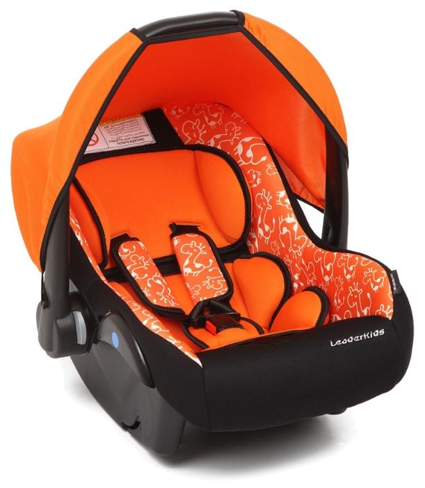Автокресло Leader-Kids Вояж, черно-оранжевое с рисунком
