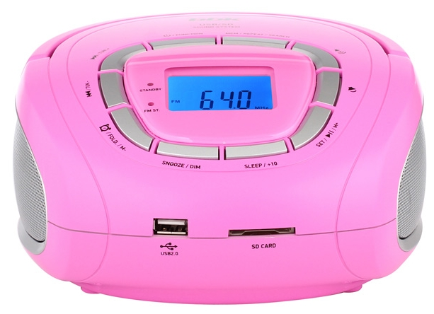 Магнитола BBK BS05, розовая/серебро