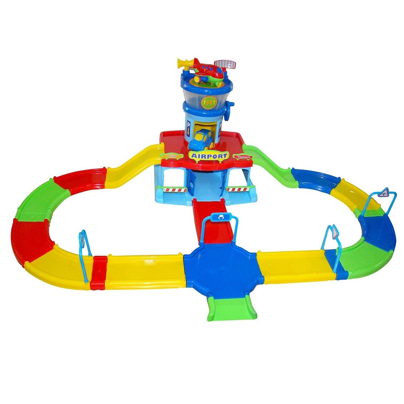 Набор игровой Wader Паркинг Аэропорт Play City с дорогой, разноцветный
