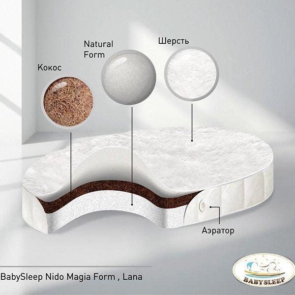 Матрас для детской кроватки Nuovita Nido Magia Form Lana 125*75 овальный
