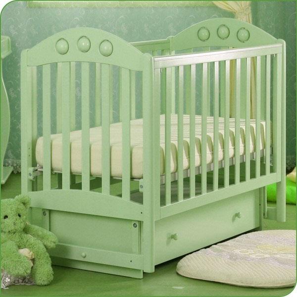 Детская кроватка Kubanlesstroy Кубаньлесстрой АБ 24.2 Орхидея, светло-зеленая