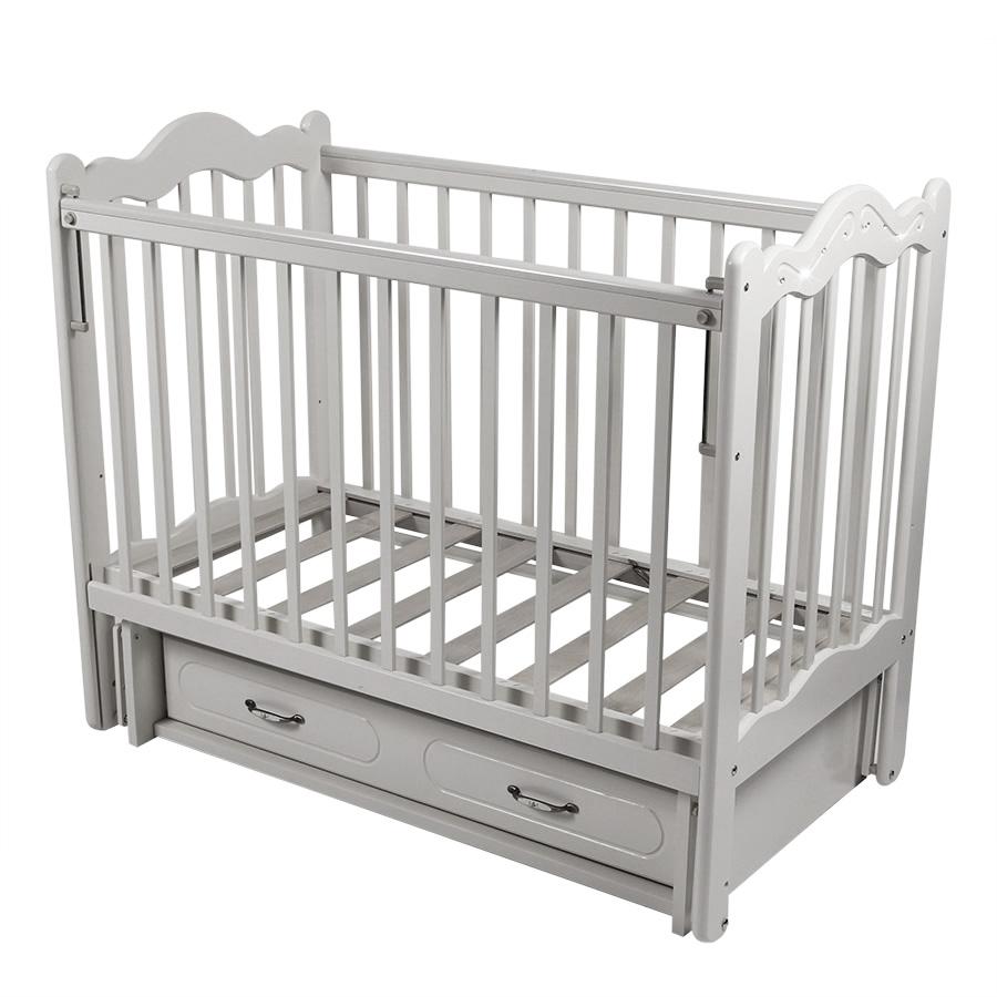 Детская кроватка Schastliviy-Malish Счастливый малыш Дюймовочка (ящик) белая со стразами