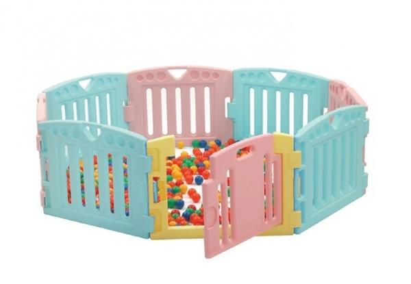 Манеж Edu-play Play Room бирюзово-лимонно-розовый PR-3824CT