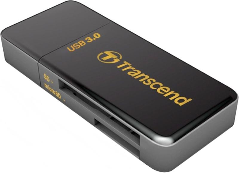 Устройство для чтения карт памяти Картридер Transcend RDF5, SD/microSD, USB 3.0, Черный TS-RDF5K
