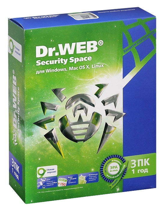 Антивирус Dr-Web DR.Web Security Space 3 ПК/1 год BHW-B-12M-3-A3