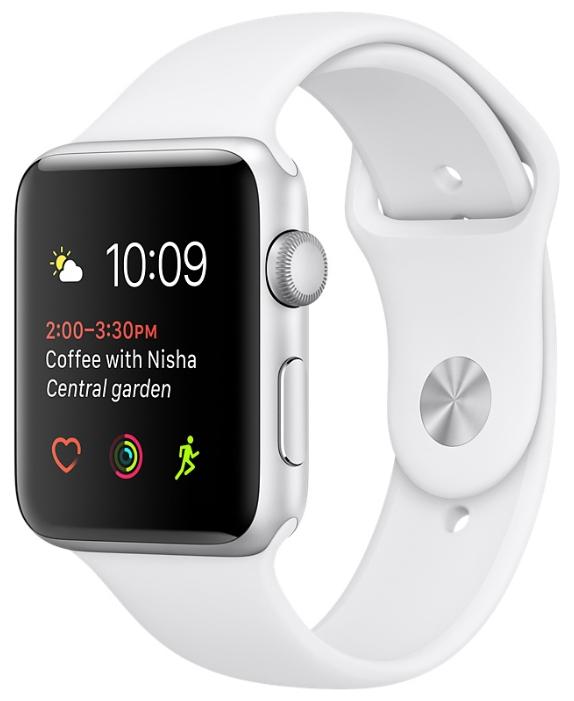 Умные часы apple Watch Series 1 42 mm, серебро/белые MNNL2RU/A